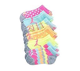 PUMA Girls\' 6-Pack Neon Chevron Socks 7-8.5