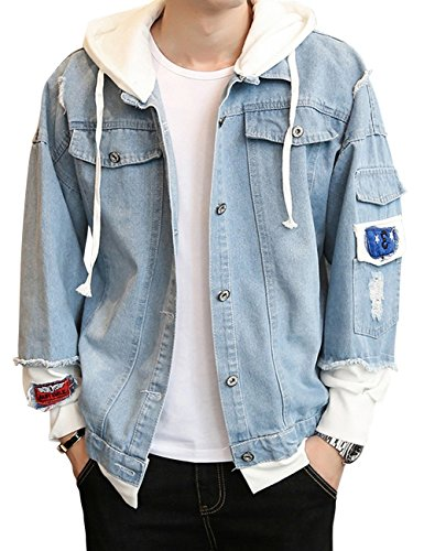 Dora Bridal Men's Denim Hooded Jacket Button Down Classy Hoodies Casual Fake Two Pieces Jeans Coats Outwear