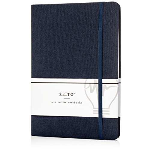 Zeito Journal Writing Notebook Hardcover, College Ruled, A5 (5x8), 240 Pages, Banded Journal, Bookmark Ribbon, Inner Pocket by Zeito