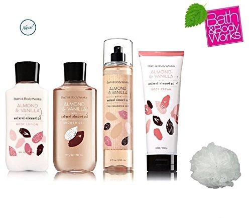 Body Lotion - Body Cream - Fragrance Mist & Shower Gel - Almond & Vanilla Deluxe Gift Set - Full Size by Bath & Body Works