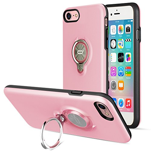 iPhone 8 Case, iPhone 7 Case by ICONFLANG, 360 Degree Rotating Ring Kickstand Case Shockproof Impact Protection Function Can Work with Magnetic Car Mount case 2018- Pink