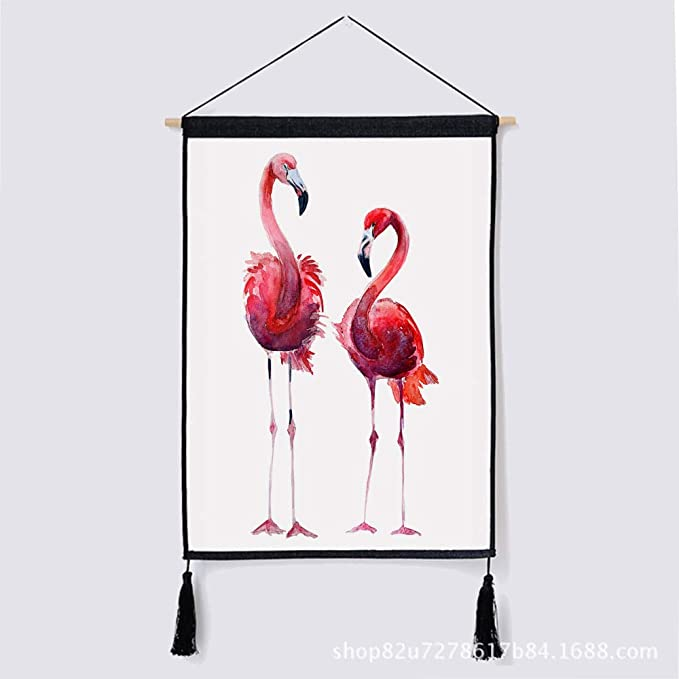 Decorativo Europeo Flamenco Rosado Colgando Tela Planta Fondo algodón Lienzo Pintura 3 46 * 65 cm: Amazon.es: Hogar