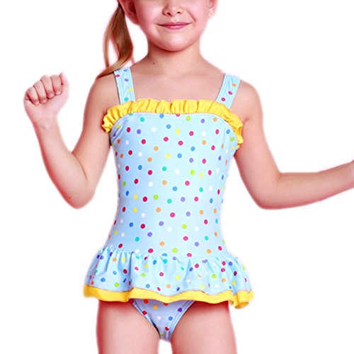 Perfashion Girls Kids Frilled Swimsuit Yellow 6-7 Years