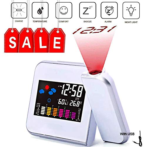Amazon Black Sales Friday Deals Cyber Sales Monday Electronic Deals & Sales - Smart Home Projection Alarm Clock Digital Clock With Weather Station Time Projector for Livingroom Bedside Bedroom (White) (Christmas Sale Clocks)