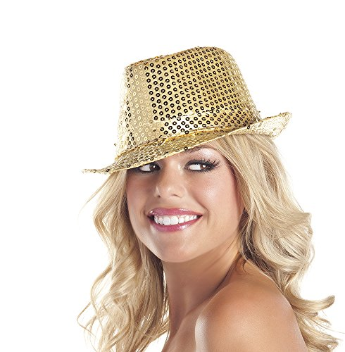 Be Wicked Women's Sequin Fedora Hat, Gold, One Size -