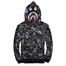 CLJJ7 Men's Shark Printed Hooded Sweatshirt (Small, Black2)
