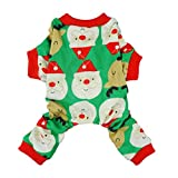 Fitwarm Cute Santa Reindeer Pet Clothes Christmas Dog Pajamas Shirts, Green, Large