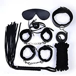 Sylvia QE 7PCS S&M Suit Kit Alternative Flirting Toys SM Toy for Couples, Included Goggles Collar Rope Whip Handcuffs&Footcuffs and Mouth Plugs