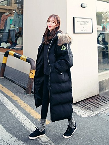 Xuanku Long Section Of The Knees Down Down Jacket Women Long Loose Loose Thick Hair Collar Long Cotton Jacket Black