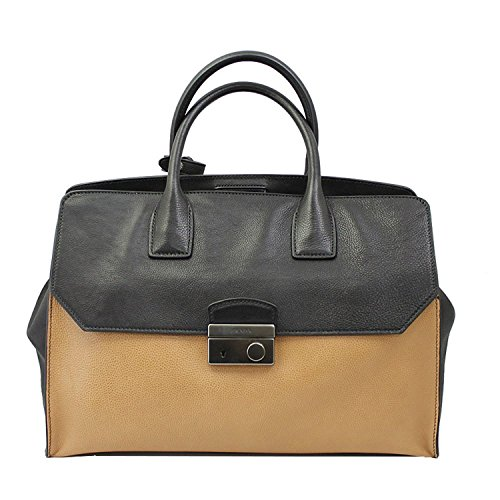 Prada-BlackTan-Leather-Hand-Bag-With-strap-Bn2682