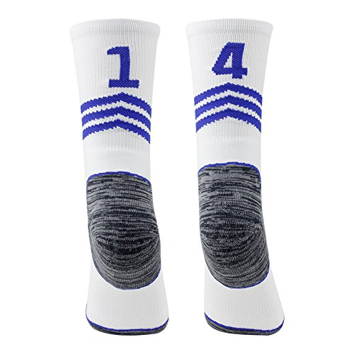 "Soccer Referee Socks,Funcat Mens Womens Youth Child Custom Football Socks,Rugby Socks,Lacrosse Socks,Basketball Crew Socks White/Blue 1 Pair,14"""" 41"""