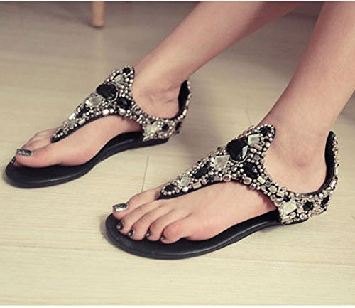 Minetom Mujer Verano Romano Bohemia T-Correa Sandalias Diamante De Imitación Chanclas Cuña Zapatos Clip Toe Sandals Playa Negro