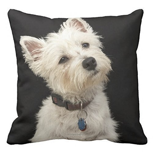 Nextchange Westie West Highland Terrier With Collar Throw Pillow Case Decorative Square Decor Cover 20x20 inches - West Highland Terrier Throw