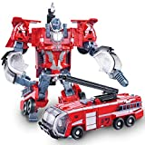 Siyushop Heroes Rescue Bots,5-in-1 Robot Model,Motorcycle, Fire Truck, Big Crane, Excavator, Ambulance, Combat Robot Model,Children's Deformation Toy (Color : Fire Truck)