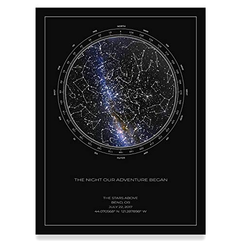(The Stars Above Co Custom Star Map, Realistic Night Sky Map, Personalized Star Poster, Constellation Map, Personalized Gift, Unframed Print (Black))