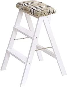 Taburetes Escalera plegable, trona multifuncional Escalera portátil de madera Cocina Taburete seguro Bar Escalera plegable Banco Balcón Escalera de madera maciza (Color : Blanco , Size : 42*49*63cm) : Amazon.es: Hogar