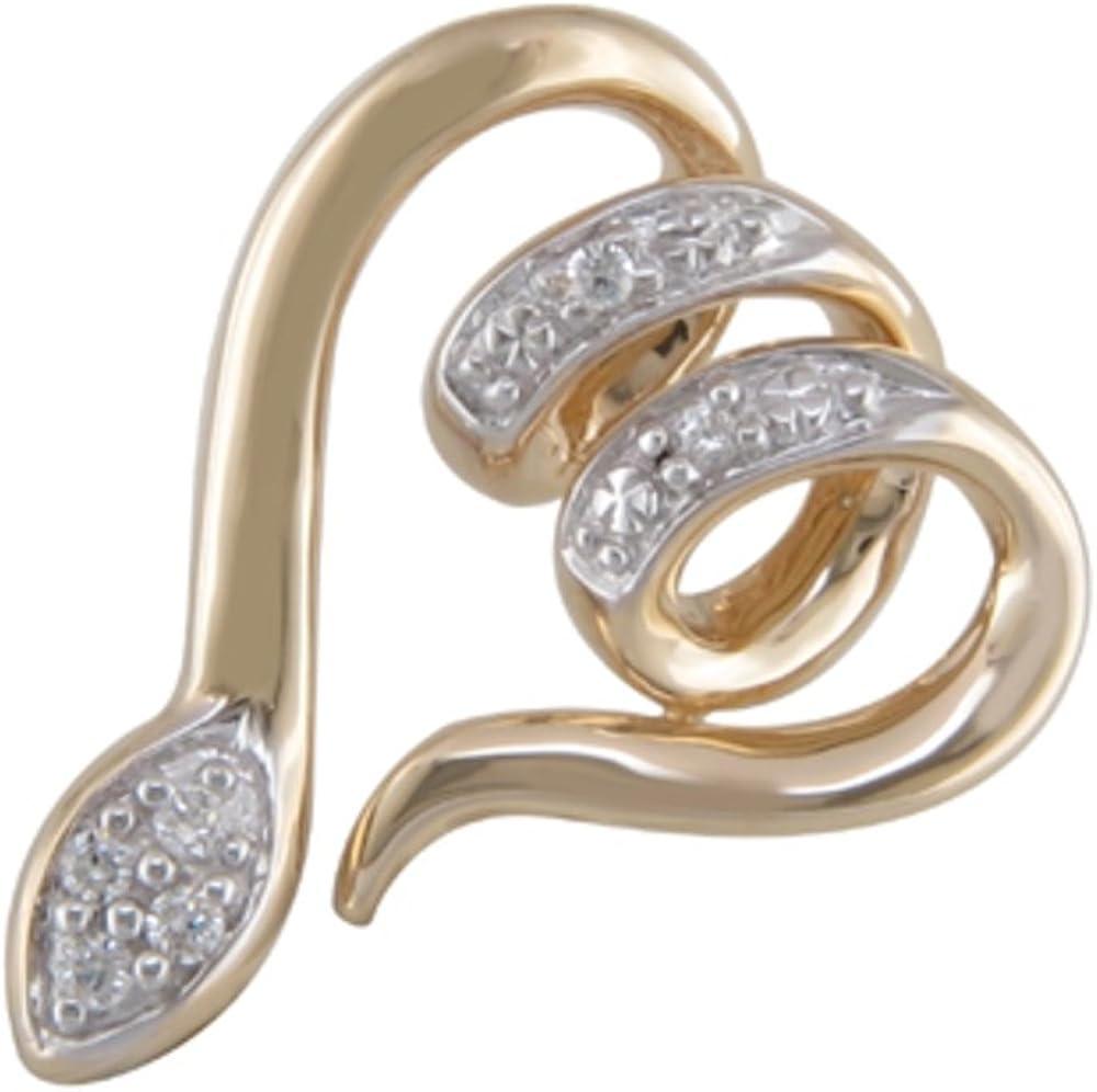 JMS Jewelry 10K Yellow Gold Diamond Snake Animal Pendant 14