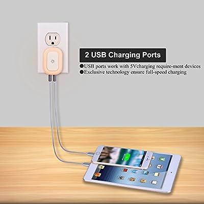 Amazon.com: powrui enchufe de cargador USB con luz LED de ...