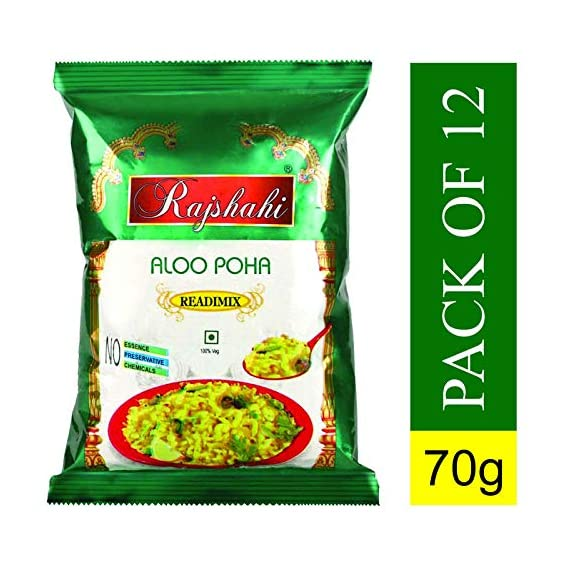 Rajshahi Tasty, Healthy & Super Easy Aloo Poha Instant Readymix Pack 70g for Breakfast/ ( Pack of 12 ) Medium Spiced with Potato Slices