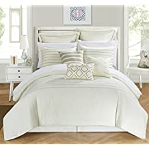 Chic Home 9 Piece Brenton Super Rich Microfiber Stitch Embroidered Comforter Set , Queen, Beige