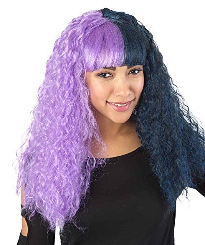 Exclusive! American Singer Style Purple & Black Long Curly Style Wig HW-1339 ()