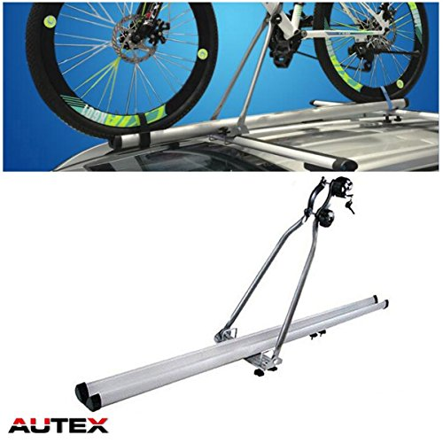 "AUTEX 51"" Lockable Aluminum Universal Roof Rack Bike Upright SUV Cross Bar Car Roof Top Mounted Bike Carrier Bicycle Rack"