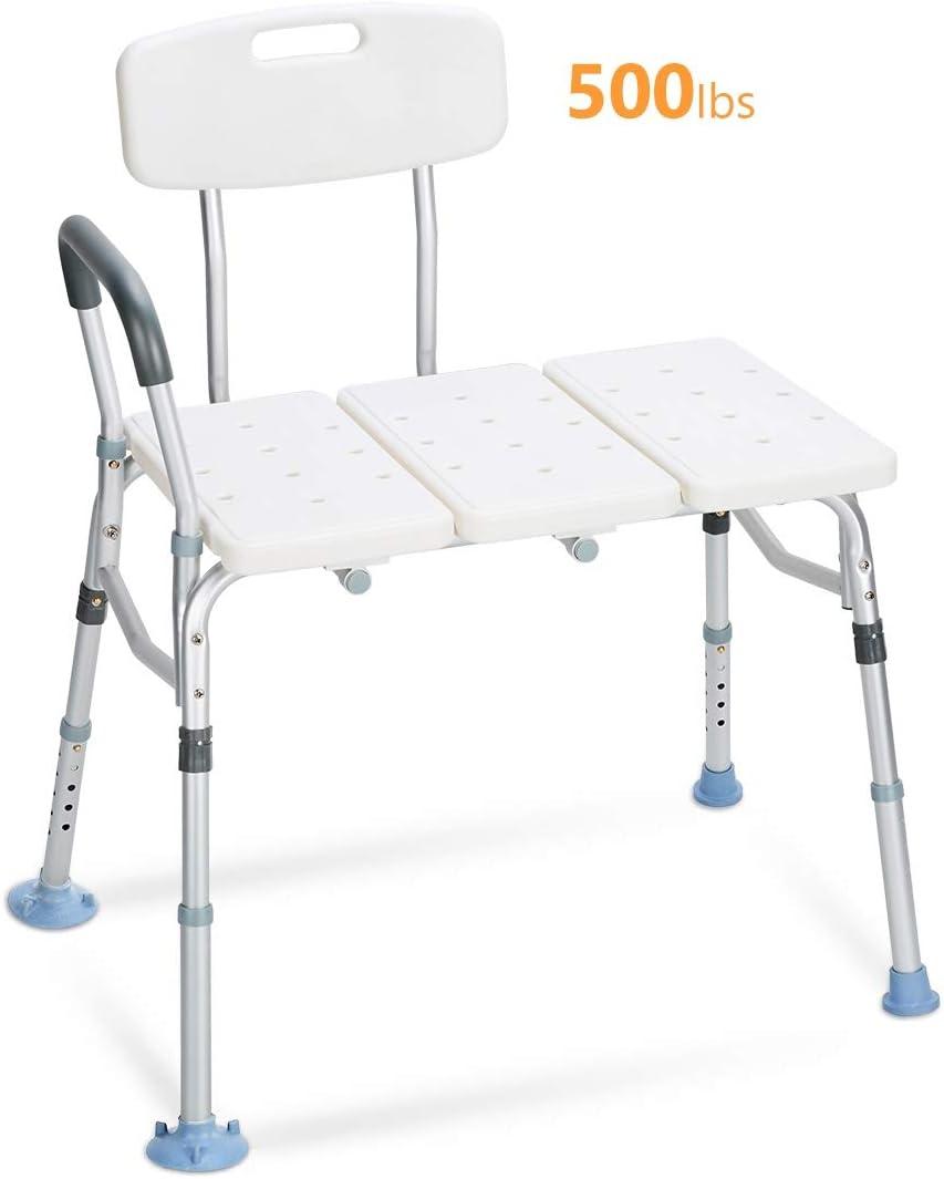 OasisSpace Tub Transfer Bench 500lb- Heavy Duty Bath & Shower Transfer Bench - Adjustable Handicap Shower Chair with Reversible Backrest - Medical Bathroom Aid for Disabled, Seniors, Bariatric(500lb) 51d1BEQK8DLSL1100_