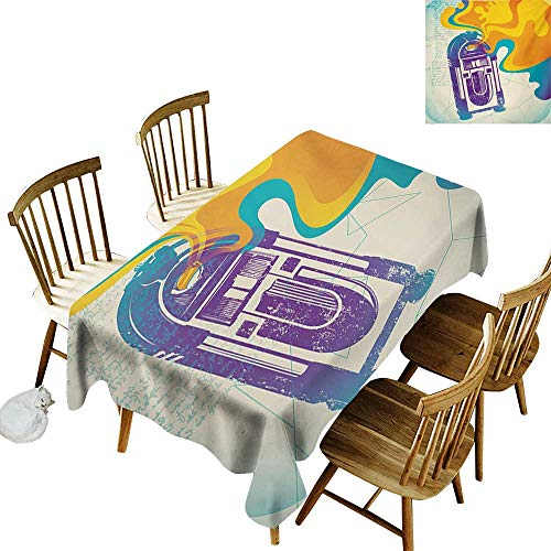 (Cranekey Outdoor Rectangular Tablecloth W60 x L84 Jukebox Retro Vintage Radio Music Box with Marigold Yellow Abstract Fog Like Image Purple and Blue 100% Polyester Washable Tablecloth)