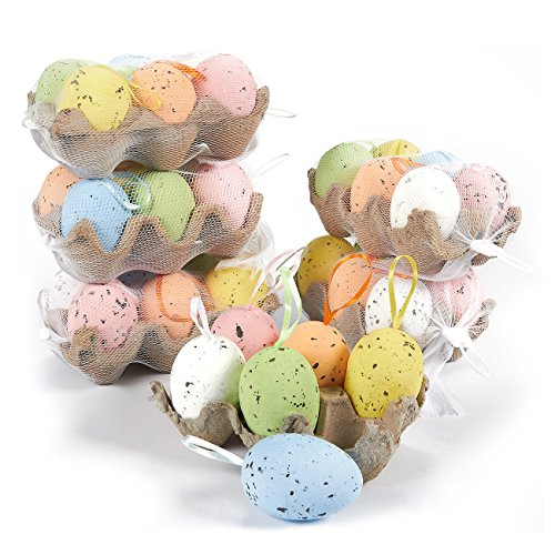 36 Pack Foam Easter Egg Ornaments Home Decorations - Decorative Hanging Easter Eggs for DIY Crafts and Assorted Easter Decorations, Multicolor, 3 x 1.75 x 1.75 Inches