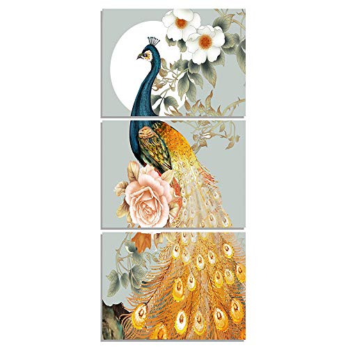 GEVES Peafowl Peony Flowers Chinese Style Wall Art Hallway Oil Painting Prints on Canvas Contemporary Paintings Bedroom Home Decor Stretched Framed Ready to Hang Contemporary Chinese Oil Painting
