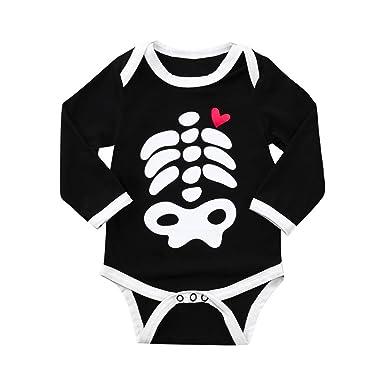 c170d1125 Halloween Toddler Kid Baby Boys Bone Love Print Cartoon Romper ...