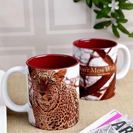 Hot Muggs Wild Focus Dop't Mess With Me Ceramic Mug, 350ml Cups, Mugs & Saucers at amazon