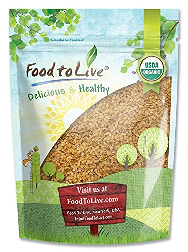 Organic Golden Flaxseed (Whole, Raw, Non-GMO, Kosher, Bulk) by Food to live - 4 Pounds