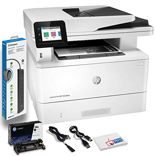 HP Laserjet Pro MFP M428fdw Wireless Monochrome Laser All-in-One Printer, Copier, Scanner, Fax, W1A30A#BGJ with Power Strip Surge Protector + Electronics Basket Microfiber Cleaning Cloth