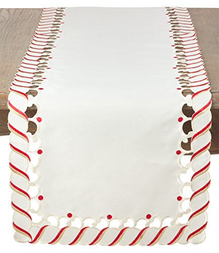 SARO LIFESTYLE Candy Cane Design Christmas Holiday Table Runner, 16'' x 72'', Ivory by SARO LIFESTYLE