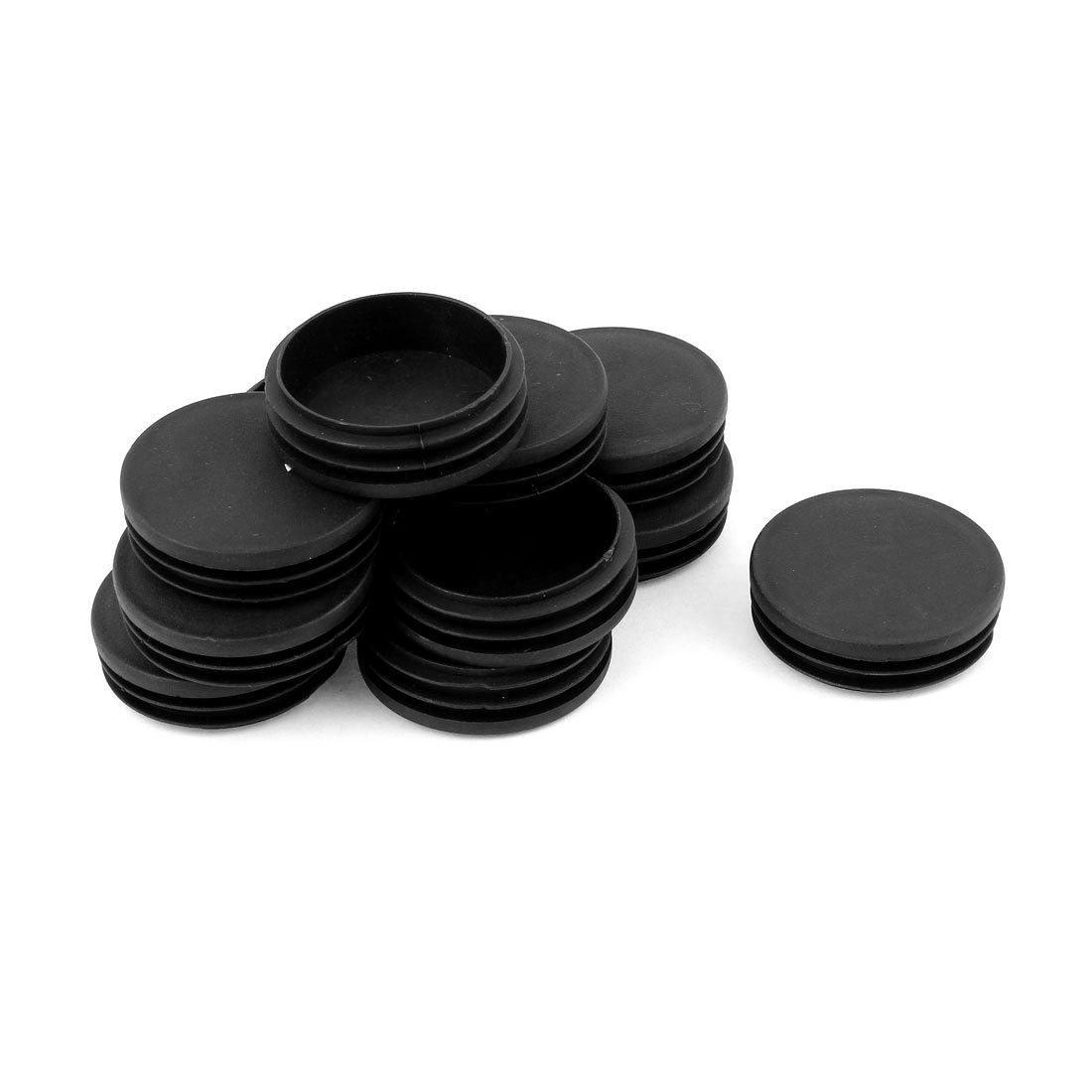 Plastic Round Tube Insert Blanking End Caps 60mm Dia 12 Pcs Black