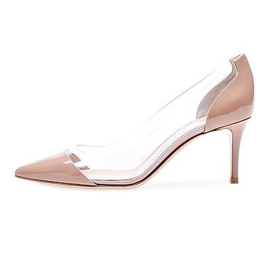 f55450fb20 Eldof Womens High Heel PVC Pumps | 8CM Pointed Cap Toe Transparent PVC  Stilettos | Wedding