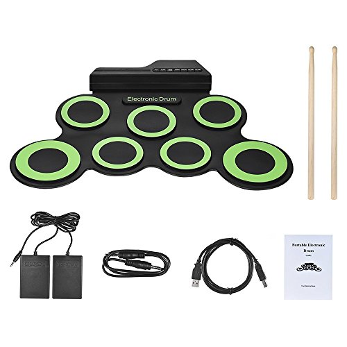 Roll Up Drum, Electronic Drum Pads Foldable Digital Electronic Drum with 2 Foot Pedals and Drum Sticks for Kids Beginners By VOSTOR