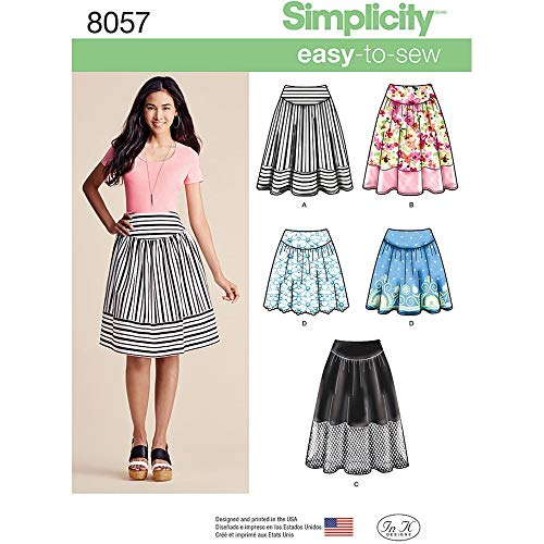 Simplicity Patterns Misses' Easy-to-Sew Skirts in Three Lengths Size: H5 (6-8-10-12-14), 8057