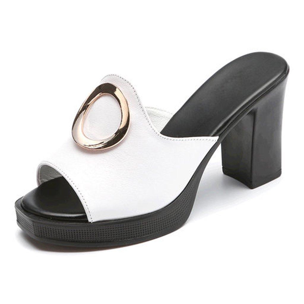 YUBIN Zapatilla Mujer Moda Ms Flip Flop Tacón Grueso Cuero Genuino Sandalias De Fondo Suave Tacón Medio Antideslizante (Color : B, Tamaño : 35) 35 B