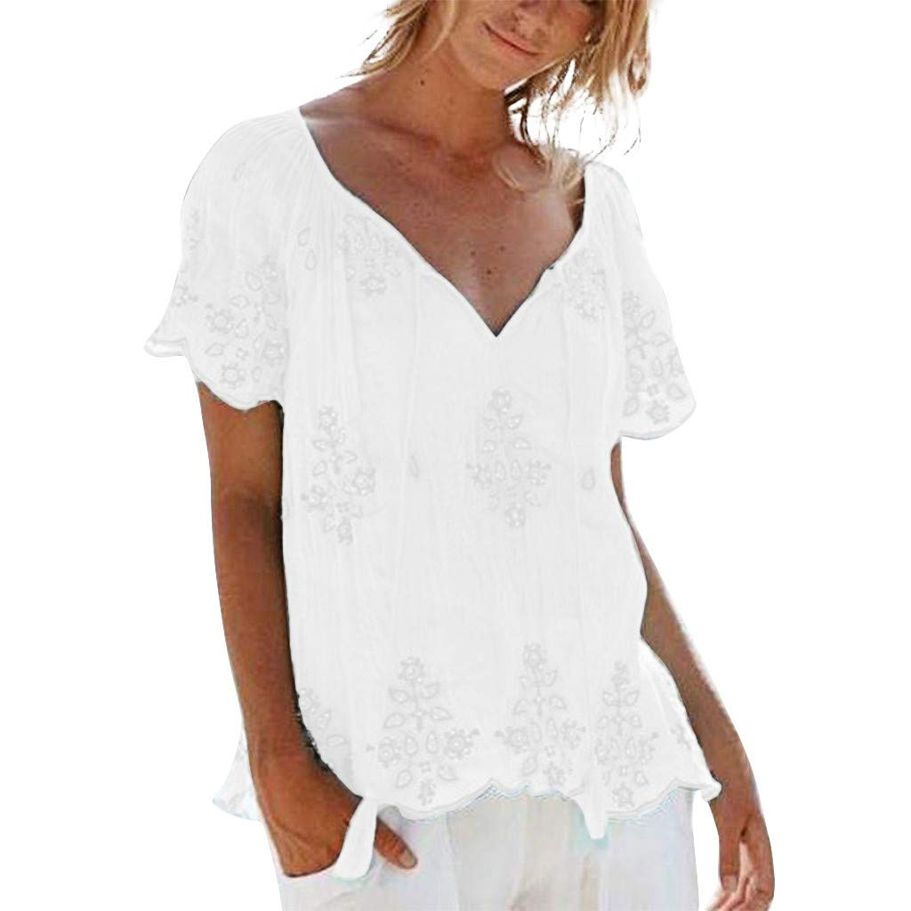 Quartly Women Plus Size Short Sleeve Embroidery Bandage Easy Blouses Casual Shirts Tops(White,XL)