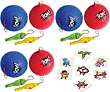 Superhero PUNCHBALLS - 12 Pack super hero punch balls + 36 Superhero tattoos super hero party favors and toys