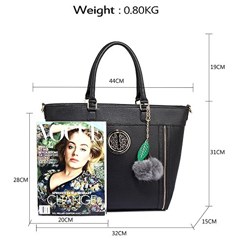 ANNA GRACE - Bolso de tela de piel sintética para mujer Design 1 : Black