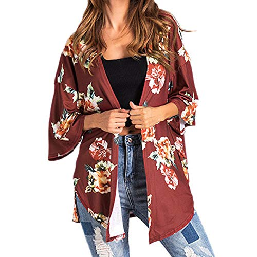 Foam Mandarin (Byyong Womens 3/4 Sleeve Tops and Blouses, Casual Flower Print Cover Blouse Smock Tops Coat)