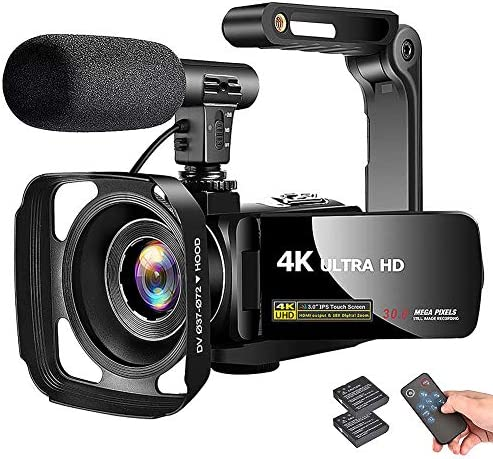 "4K Camcorder Video Camera Vlogging Camera Recorder with Microphone 30MP 3"" LCD Touch Screen 18X Digital Zoom YouTube Camera with Remote Control"