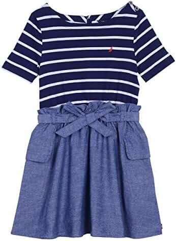 Nautica Girls' Combination Dress with Chambray Skirt