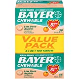 Bayer Aspirin, Chewable, Low Dose (81mg), Orange Flavor, 108 Tablets