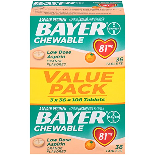 Price comparison product image Bayer Aspirin, Chewable, Low Dose (81mg), Orange Flavor, 108 Tablets