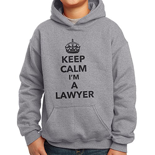 Price comparison product image Nutees Keep Calm I'm A Lawyer Profession Unisex Kids Hoodie - Sports Grey 14 / 15 Years