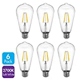 Tenergy LED Dimmable Vintage Edison Style Filament Light Bulb 4W (40 Watt Equivalent), Soft White (2700K), ST64, E26 Medium Standard Base (Pack of 6)